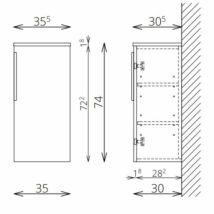 NOTO F35 1 ajtó FALI kiegészítő Fürdőszobaszekrény TBOSS