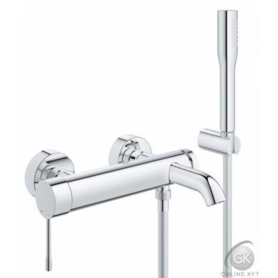 Essence egykaros kád csaptelep  + Euphoria Cosmopolitan kézizuhany fix falitartóval, Silver Flex csavarodásmentes zuhanycsővel GROHE