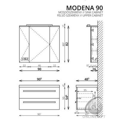 MODENA K90 FALI  fürdőszoba szekrény kombináció TBOSS new 2019