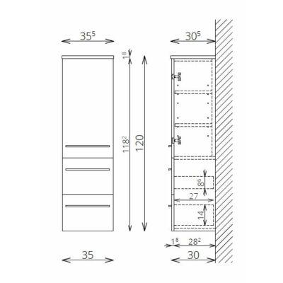 NOTO F120 1 ajtó 2 fiók FALI kiegészítő Fürdőszobaszekrény TBOSS