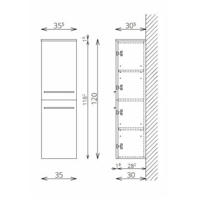 DANA F120 2 ajtó FALI kiegészítő Fürdőszobaszekrény TBOSS