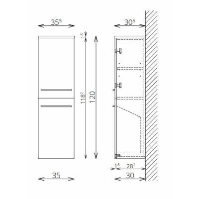 DANA F120 1 ajtó 1 szennyestartó FALI kiegészítő Fürdőszobaszekrény TBOSS
