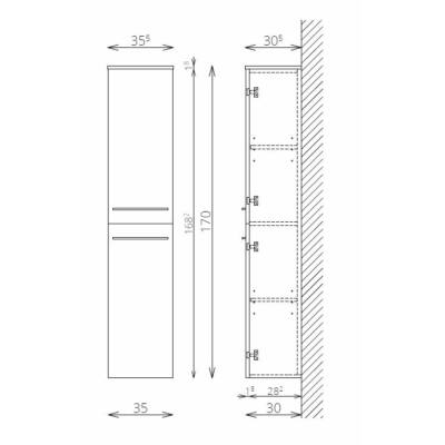 NOTO F170 2 ajtó FALI kiegészítő Fürdőszobaszekrény TBOSS