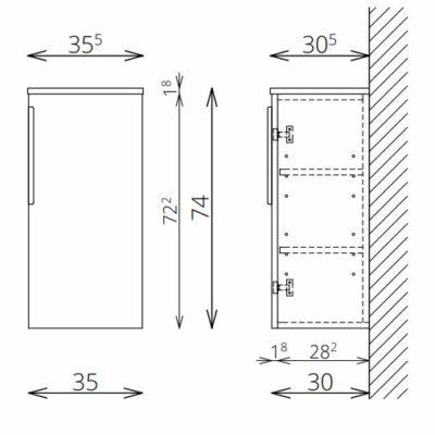 DANA F74 1 ajtó FALI kiegészítő Fürdőszobaszekrény TBOSS