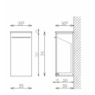 DANA F74 1 szennyestartó FALI kiegészítő Fürdőszobaszekrény TBOSS